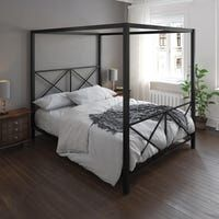 Shop The Curated Nomad Hillard Gold Metal Modern Canopy Bed - Overstock - 21906875 - Twin Modern Canopy Bed, Metal Canopy Bed, Queen Canopy Bed Frame, Canopy Beds, Queen Bed Frames, Canopy Bedroom, Bedroom Furniture Stores, Bed Furniture, Furniture Deals