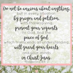 Do you follow that first thought to its worst conclusion? Replace fear-filled thoughts with faith-filled truths of who God is. Philippians 4:6-7 Do not be anxious about anything, but in every situation by prayer and petition, with thanksgiving, present your requests to God. And the peace of God which transcends all understanding will guard your heart and your minds in Christ Jesus.