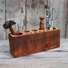Reclaimed Wood Desk Caddy on Wanelo
