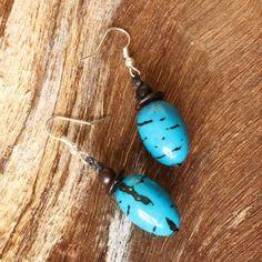 Blue Seed Beaded Earrings | handmade eco organic | handmade | dangling