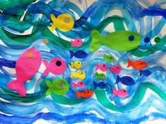 Vagues-à-la-peinture-+-poissons-collés. Diy And Crafts, Crafts For Kids, Arts And Crafts, Preschool Learning, Teaching Art, Art Projects, Projects To Try, Seasons Activities, Arabic Funny
