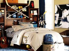 Hockey themed bedroom for a teenager.