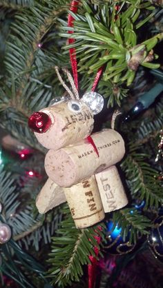 Reindeer Christmas Tree Ornament made from recycled wine corks Holiday Decorations by TheRusticVine on Etsy