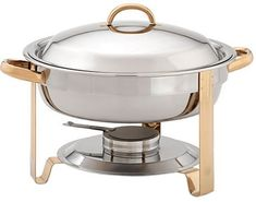 Update International (DC-4/GB) 4 qt Stainless Steel Round Gold-Accented Chafer >>> Read more reviews of the product by visiting the link on the image.
