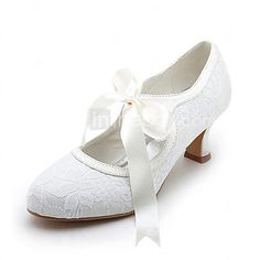 Women s Shoes Satin   Stretch Satin Spring   Summer Mary Jane Spool Heel  Ribbon Tie   Lace White   Ivory   Wedding 1c651642d8
