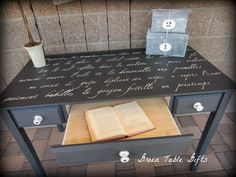 Green Table Gifts, Graphite with Pure white Stencil and hardware.