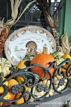 Dress a window box with a transferware turkey platter for a seasonal touch along with a harvest of pumpkins, gourds and Indian corn  #thanksgiving #windowbox