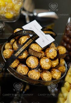 Black and Gold candy buffet favour ideas.