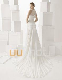 Etui-Linie Illusion Kathedrale Zug Chiffon Hochzeitskleid - UUknot.ch