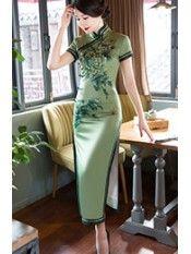 Sage Green Floral Long Qipao / Cheongsam Party Dress