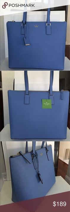 """Kate Spade Cameron Street Lucie Tote Oyster Blue kate spade new York Cameron Street Large LucieTote Bag in Oyster Blue Saffiano Leather, NWT * Zip top closure * two interior slide pockets and one interior zip pocket * kate spade new york gold embossed signature with stud * crosshatched leather with matching trim * bookstripe printed on poly twill lining * 14 karat gold plated hardware * Approx. 11.5""""h x 17""""w x 6""""d * drop length 9"""" handle  * Dust bag included * MSRP $328 Price firm! No…"""