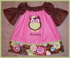 Owl Appliqué Peasant dress 6M to 5T Personalized by susansidie, $23.99