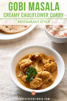 Looking for a creamy curry but can't find one you love? Try this creamy cauliflower curry recipe! You can make it without the dairy products to make it vegan but we suggest using the dairy as it is what helps with the creamy-ness of this dish. Gobi Recipes, Curry Recipes, Indian Food Recipes, Asian Recipes, Easy Vegetarian Curry, Vegetarian Recipes Easy, Vegetable Recipes, Potluck Recipes, Recipes Dinner