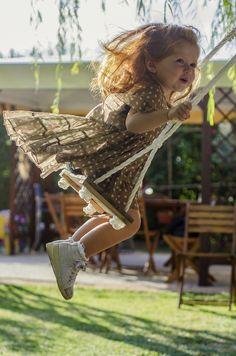Swinging ,.. ⛅️ Beautiful Sunshine ,..  Innocent Carefree little Girl ~  David Pellicola - Photography