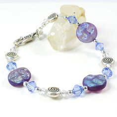 Handmade Moon Spiral Bracelet with Czech Glass by SolanaKaiDesigns