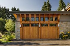 Architecture Design, Enchanting Craftsman Style Shed With Brackets Chain Dowspout And Wooden Garage Doors Also Outdoor Lightings: Wonderful Craftsman Style Shed In Farmhouse Designs Wooden Garage Doors, Garage Door Design, Garage Door Repair, Garage Windows, Wooden Gates, Wood Doors, Contemporary Garage Doors, Modern Garage, Small Garage