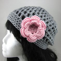 Lacy Crocheted Hat with Large Flower Clip READY MADE - Women Crochet Hat in Grey. $20.00, via Etsy.