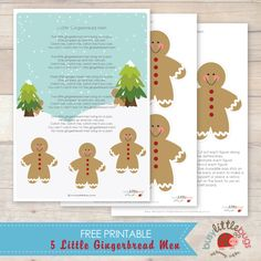 Free 5 Little Gingerbread Men poem Busy Little Bugs