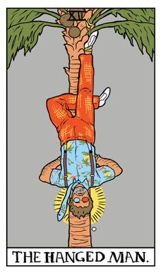 """The Hanged Man Twin Peaks tarot card by Benjamin Mackey. """"Agent Cooper… the problems of our entire society are of a sexual nature."""""""