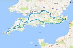 Roadtrip Zuid Engeland 2017 - de route. Een kampeer rondreis door het Zuiden van Engeland. Dartmoor, Exmoor, Cotswold, Oxford, Cornwall, Dover