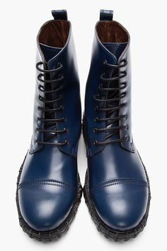 ACNE STUDIOS Navy Leather Mart Combat Boots