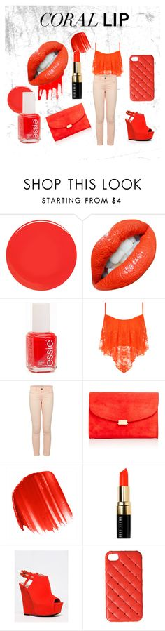 """""""Coral lips theme"""" by micaj on Polyvore featuring beauty, Nails Inc., Essie, WearAll, Current/Elliott, Mansur Gavriel, Urban Decay, Bobbi Brown Cosmetics, Qupid and 2Me Style"""