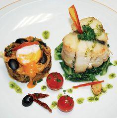 Tornedó de #bacalhau em ervas aromáticas, brás de #azeitona e #tomate seco, confeccionado pelo Chef Júlio Trigo