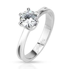 I Really Do- Classic Prong Set Cubic Zirconia Solitaire Band Ring Stainless Steel gem size, band width I'm available in sizes: mm band - gem) 9 If you do not see these available sizes in stock, please contact your Engraved Promise Rings, Wholesale Body Jewelry, Silver Nose Ring, Band Engagement Ring, Stainless Steel Jewelry, Fashion Rings, Band Rings, Wedding Jewelry, Rings For Men