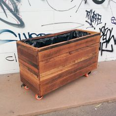 Recycled Timber Planter Box On Wheels Made To Order By Tarnt