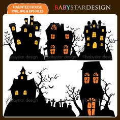 5 graphic elements of halloween haunted house theme perfect for your birthday invitation craft