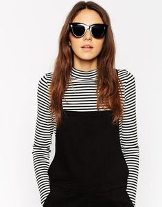 ASOS Flat Top Cat Eye Sunglasses at ASOS. Shop this season's must haves with multiple delivery and return options (Ts&Cs apply). Stylish Sunglasses, Cat Eye Sunglasses, Asos, Fashion Online, Flats, Stuff To Buy, Outfits, Shopping, Women