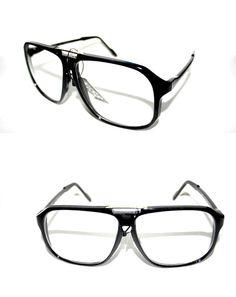 082cd026d1a Men s Designer XL Clear Lens EYE Glasses BLACK GOLD Frame AVIATOR Hip Hop  80 s  Unbranded  Aviator