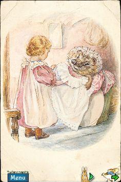""""""" Regardez, j'ai trouvé un de mes mouchoirs, s'écria Lucie, et voici mon tablier ! """". Madame Piquedru le repassa, l'empesa et en arrangea soigneusement la collerette. """" C'est magnifique ! """" dit Lucie. """" ~ The tale of Mrs. Tiggy Winkle"""