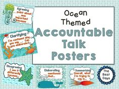 Need to help your students with discussions in class?  Get these great Ocean Themed Accountable Talk Posters now.  14 posters covering 5 areas of discussion!  Swim on over to The Best Days!