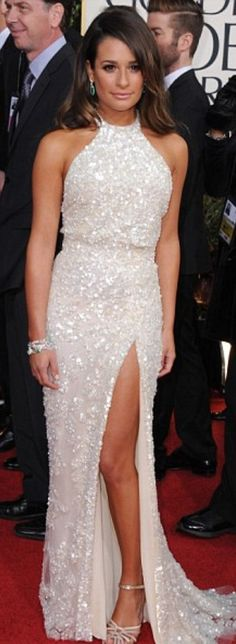 {Lea Michele in Elie Saab} She's a little bit too tanned for my taste, but anyway, she looks beautiful in white