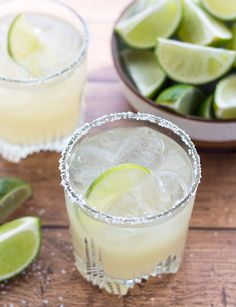 This Sparkling Margarita is made with fresh lime juice, homemade simple syrup, and a splash of club soda to give it some fizz. It's an awesome summer drink but between me and you, I drink it year round! :)