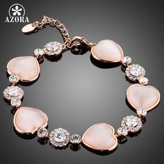 Romantic Lover's Gift Heart Rose Gold Plated Tiny Crystal Around Cubic Zirconia Bracelet TS0080