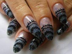 Glimmering Lace Nail Design