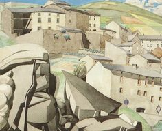 The Boulders by Charles Rennie Mackintosh, c. 1923-26, Hunterian Art Gallery, U of Glasgow.    This C.R. Mackintosh watercolor was done after he had arrived in the south of France on the Mediterranean coast where he was struck by the natural rock formations and sets them up in this painting as a contrast to the roofs of the buildings.