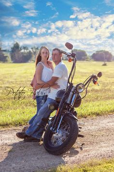 Motorcycle and couple. Engagement, wedding photo