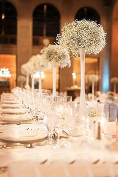 Baby's breath is used in everything from wedding bouquets to centerpieces. Here are some baby's breath wedding ideas for bouquets, centerpieces, and decor. Mod Wedding, Wedding Table, Wedding Reception, Dream Wedding, Wedding Ideas, Lakeside Wedding, Formal Wedding, Trendy Wedding, Fall Wedding