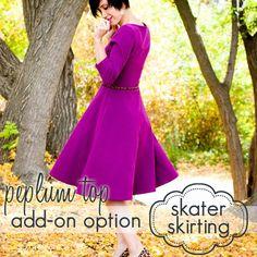 Ladies Peplum Top  Skater Skirt Add-on  INSTANT DOWNLOAD by jocole (Craft Supplies & Tools, Patterns & Tutorials, sewing, knit, stretch, knee length, easy, womens, jocole, maternity top, nursing pattern, long sleeve dress, tunic, options, peplum)