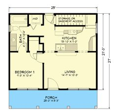 - love the optional bar like the horseshoe lake house, if elevator then make stairway a pantry or move kitchen back. Small Cottage Homes, Small Cottages, Cottage Plan, Small Houses, Cob Houses, Tiny Homes, Porch Plans, Cabin Plans, 1 Bedroom House