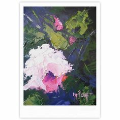 "Carol Schiff ""Textured Pink Rose"" Green Painting Fine Art Gallery Print"