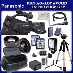 """Panasonic AG-AC7 Shoulder-Mount AVCHD Camcorder w/ SSE """"Interview Kit"""" Featuring: Extended Life Battery & External Rapid Charger, 2x 8GB SDHC Memory Card, Wireless Lapel & Handheld Microphone, LED Video Light, Gold Plated HDMI Cable, High Definition 0.45x Wide Angle Lens, 2x Telephoto HD Lens and much much more... by Panasonic. $1409.99. The Panasonic AG-AC7 Shoulder-Mount AVCHD Camcorder is a highly affordable Full HD camera that enables a truly professional style ..."""