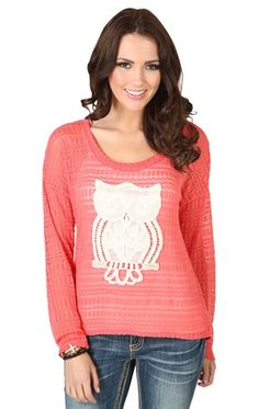 Owlll!!!!!!!Deb Shops Long Sleeve High Low Knit Sweater with #Crochet #Owl Patch $16.42