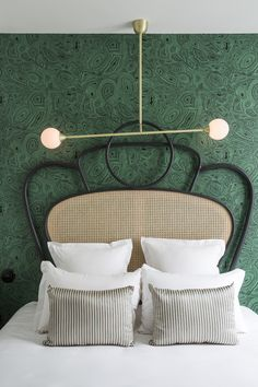 malachite wallpaper and cane bed at the hotel Panache in Paris statement headboard roundup on coco kelley Modern Hotel, Interior, Bedroom Interior, Bedroom Hotel, Luxurious Bedrooms, Malachite Wallpaper, Bedroom Trends, Interior Design, Hotels Design