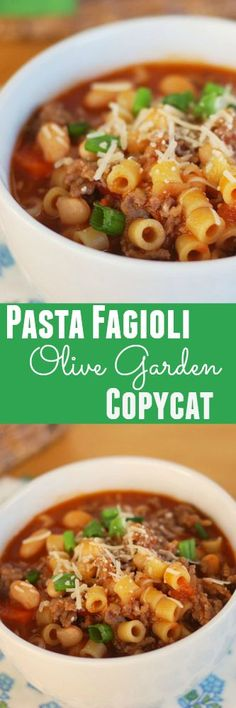Pasta Fagioli - Olive Garden copycat recipe. The BEST soup recipe. You will make this over and over again.