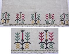 Two details of a napkin, Crimean Tatar, from Turkey, 1870-1920.  Embroidered on linen, 34 x 72 cm;  Featuring a stylized 'Tree of Life' motif, worked in counted-thread technique in colors of red, yellow, green and black.  The motif is repeated 5 times across the width of cloth.  Height of the embroidery (from the tip of the tree to end of cloth): 7 cm.  (The Asiye-Zeynep Collection, Washington DC).