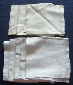 Eight Antique Woven Linen Napkins. c.1930 by chalcroft on Etsy, $9.95
